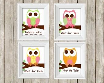 Owl bathroom rules, owl prints, bathroom sign, kid's bathroom rules, children's bathroom,  8x10 prints, owl prints, owl wall decor