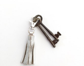 Metallic Silver Leather Tassel Keychain Clasp