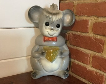 Vintage Silvestri  Bros. Chalkware Bank,Mouse with Cheese,1960s