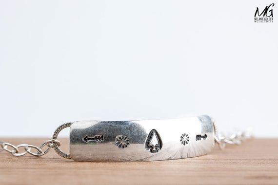 Bohemian Style Chain Link Bracelet in Sterling Silver