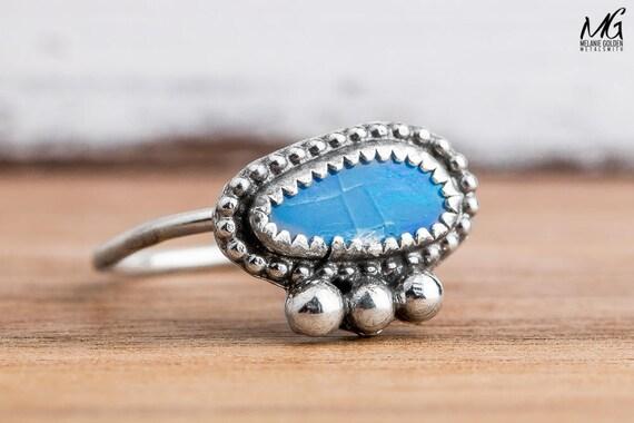 Blue Boulder Opal Gemstone Ring in Sterling Silver - Size 8