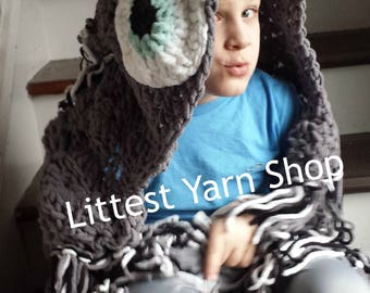 Owl blanket, hooded owl blanket, crochet owl blanket, Gray Pink Sea Foam Orange Owl Blanket, Kid Adult Blanket, Woodland Theme