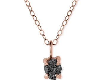 1 Carat Rough Black Diamond Necklace, Recycled 14k Rose Gold