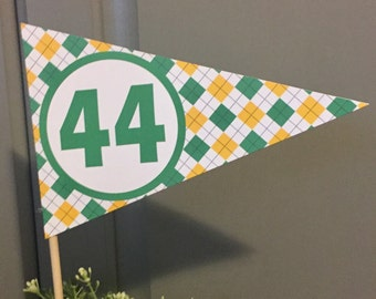 PREPPY ARGYLE GOLF Happy Birthday or Baby Shower Centerpiece Flags Pennants - {Set of 3} - Party Packs Available- Party Packs Available