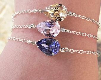 Swarovski Bracelet Silver - Crystal Bracelet Swarovski Jewelry - Bridal Jewelry - Bridesmaid Jewelry - Choice of 18 Colors