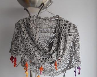 FRESH Shawl - Summer Shawl - Wedding Shawl / Bridal Shawl / Pineapple Shawl / Crochet Shawl / Rectangular Shawl / Wrap /  NATURAL Yarn