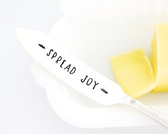 Spread Joy. Hand Stamped butter spreader. Stamped cheese knife for Hostess Gift or Holiday Table Decor.