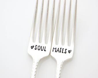 Soul Mates hand stamped wedding forks. Unique wedding gift by Milk & Honey ® Couple's Gift Idea under 25