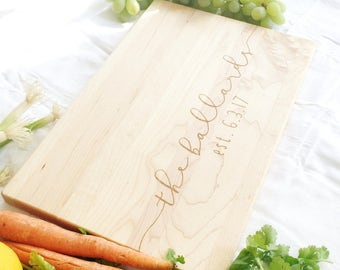Newly Wed Gifts. Custom Cutting Board with Last Name and Date. Wedding Gift, Anniversary Present.