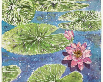 Watercolor Batik, Waterlilies, Watercolor Painting,Watercolor Waterlilies, Batik Art, Waterlily Print, Waterlily Art, Waterlily Batik,