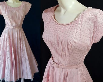 50s Alma Fashions Dress Rockabilly Circle Skirt Pink Swing Dress