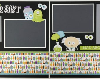 Pre-made Halloween Scrapbook Page Layout 2 pages 12x12