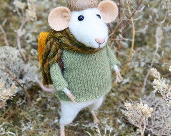 Traveler Little Mouse- Needle Felted Doll Rustles from the Meadow MADE TO ORDER