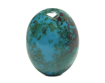 Chrysocolla Blue with Green Malachite Red Cuprite Semi Precious Copper Jewel, Polished Glossy Semiprecious Gemstone Cabochon Gem Silica Peru
