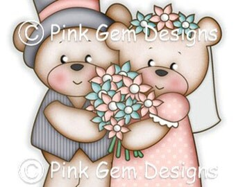 Digi Stamp Teddy Wedding Couple 'Mr & Mrs Bears'. Makes Cute Papercraft and Digital Scrapbooking Projects.