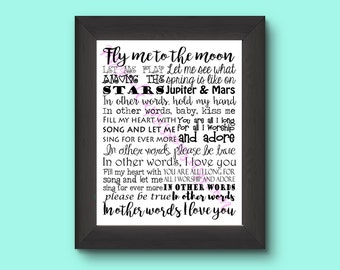 Fly Me To The Moon (In Other Words) Typography Frank Sinatra 11 by 14 Art Print