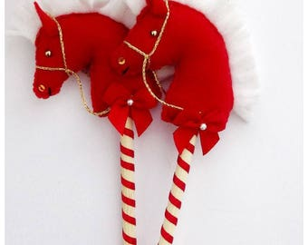 Felt and wood Hobby horse, Stick Horse Hanging Christmas Tree Ornament. Hand Made Hobby horse holiday ornament.