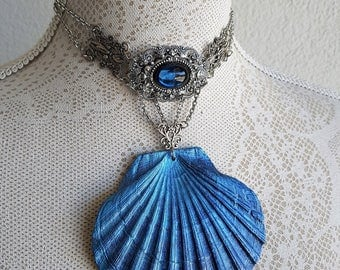 Necklace Collier Choker Pendant Sea Shell Nautical Blue Mermaid Siren Goth OOAK