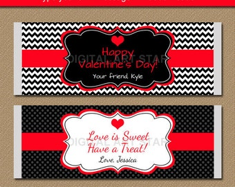 EDITABLE Valentines Day Chocolate Bar Wrappers - Printable Candy Bar Wrappers - Red Black Valentine Party Favors - Valentine Gift Idea V1