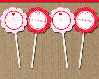 Instant Downoad Valentines Day Decor - Valentine Cupcake Toppers - Valentines Day Cupcake Picks - Printable Valentine Party Favor Tags V2
