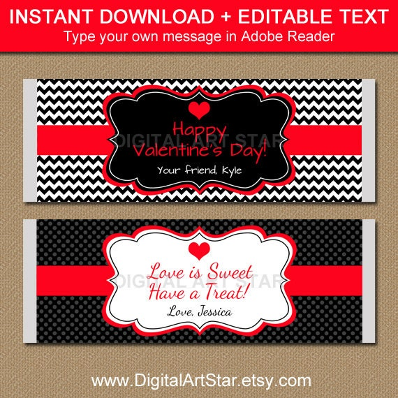 Editable valentines day chocolate bar wrappers printable for Valentine candy bar wrapper templates