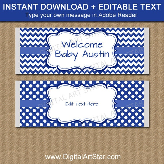 Blue candy bar wrappers boy baby shower candy labels for Candy bar wrappers template for baby shower printable free
