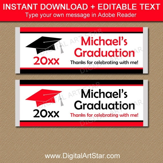Graduation candy bar wrapper template editable graduation for Free printable graduation candy bar wrappers templates