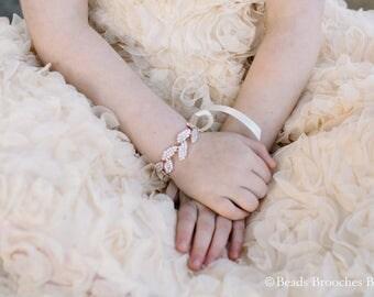 Flower Girl Bracelet,Girls Bracelet,Girls Cuff,Flower Girl Jewelry Bracelet,Flower Girl Accessory,Rose Gold Kids Bracelet,Rose Gold Bracelet