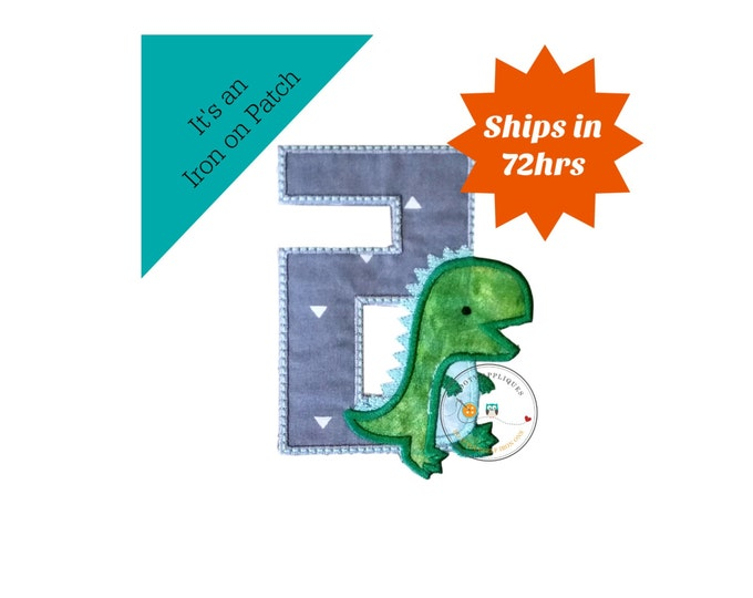 Dinosaur birthday number two machine embroidered patch, fast shipping iron on Dino birthday applique, green and gray number 2