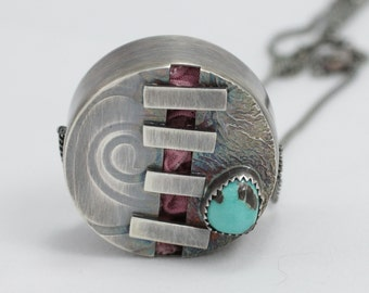 """Hollow Form Pendant, Carico Lake Turquoise Necklace, Metal Bead Necklace, Silver Turquoise Pendant, """"Stitched Up"""""""