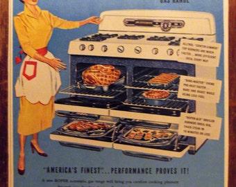 ROPER GAS RANGE Original Vintage Magazine Advertising Kitchen Print Wall Decor Appliance Ready To Frame