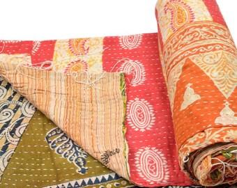 Vintage Kantha Quilt Gudri Reversible Throw Ralli Bedspread Bedding India OG645