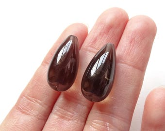 Smoky Quartz Half Top drilled Smooth Fat Teardrop Briolettes 10x20 mm 1 Pair for earrings G6522