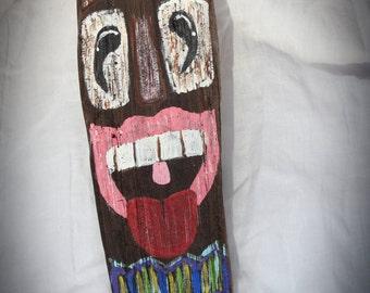 Driftwood Tiki Man  Hand Painted Beach Art Home Decor Happy Smiling