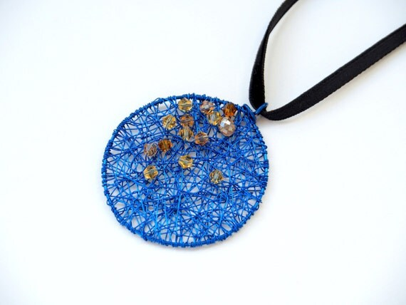 Blue Sky with Stars ~ Minimal Artistic jewelry