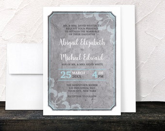Industrial Wedding Invitations - Aqua Gray Flourish - Blue Grey with White outer Frame - Printed Invitations