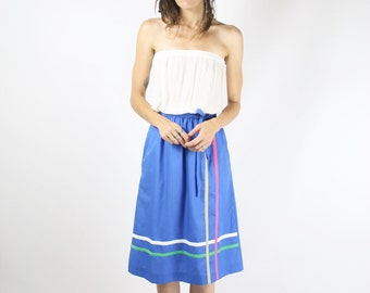 Vintage 70s Skirt, Cobalt cotton A-line striped skirt, XS Small 3821