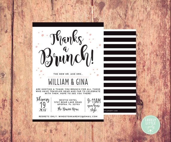 Thanks a Brunch Post Wedding Breakfast/Brunch Invitation  -  Lovely Little Party