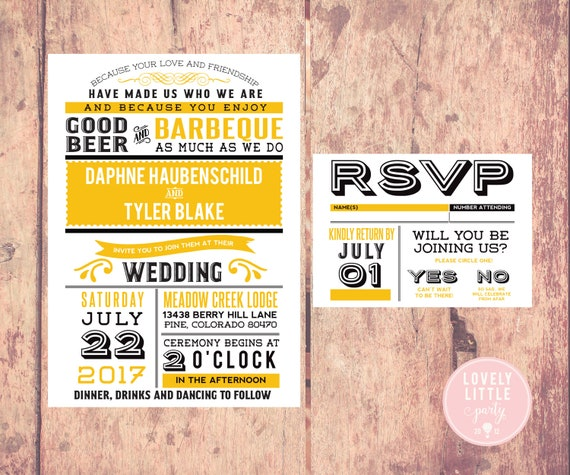 Beer and BBQ Wedding Collection, Wedding Invitation and RSVP design - DIY Printable or Printed Option - Choose colors