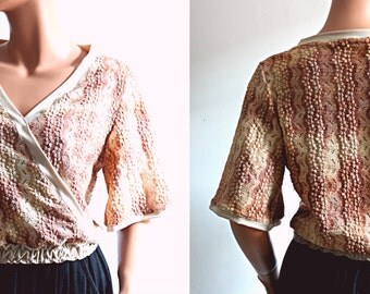 Bohemian Wrap Top  Short Sleeves Blouse Peach Pink Lace Romantic Comfortable Women's Clothing Size Small Medium S/M