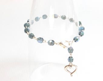 Dark Blue Crystal Rosary Chain Bead Style Bracelet with Silver Open Heart
