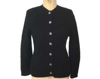 vintage 1950s mohair cardigan / black / Alberic / button front sweater / secretary sweater / women's vintage sweater / size large
