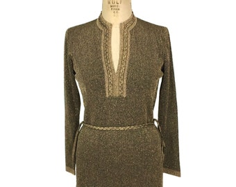 vintage 1970s bronze metallic sweater / LeRoy Knitwear / lurex / belted tunic sweater / women's vintage sweater / tag size medium