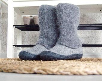 Felt boots natural gray black - felted winter wool boot valenki