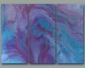 Abstract wall art, Purple blue plum grey, 3 pc Canvas print set multi panel, LARGE triptych, Blue home decor, Master bedroom, Office artwork