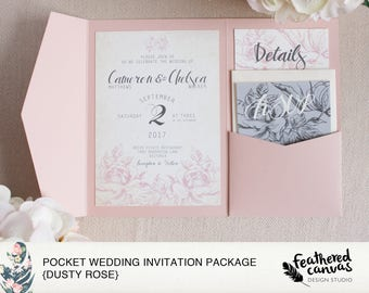 Pocket Wedding Invitation Suite {Dusty Rose}