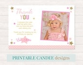 Twinkle Twinkle Little Star Thank you, Star Party Thank you, Pink Gold Thank you, Star 1st Birthday, Photo thank you card, Printable DIY
