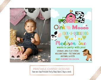 Girl Farm Animal Birthday Invitation, Farm Birthday Party invitation, Pink Farm Party invite, Barnyard birthday party, Farm 1st birthday