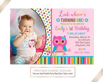 Pink Girl Owl Birthday Invitation - Owl Birthday - Pink Owl Party - Girl Owl Birthday - Cute Owl Birthday - Printable Owl Invitation