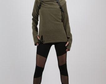 Olive Sweater, Turtleneck Sweater,Futuristic Clothes, Avant Garde Top,Fleece Winter Top, Winter Sweater, Black Sweater